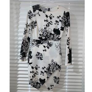 Windsor B&W Long Sleeve Floral Wrap Dress